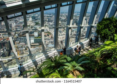 London / England — June 27, 2018: Sky Garden, a public garden at the upper floor of Walkie-Talkie skyscraper offering panoramic views of the City of London, a business district in the center of London