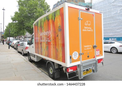 LONDON ENGLAND - JUNE 3, 2019: Sainsbury's supermarket delivery truck parked in downtown London UK