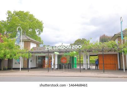 LONDON ENGLAND - JUNE 3, 2019: Unidentified people work at ZSL London Zoo London UK