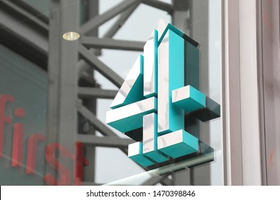 LONDON ENGLAND - JUNE 4, 2019: Channel 4 company sign London UK