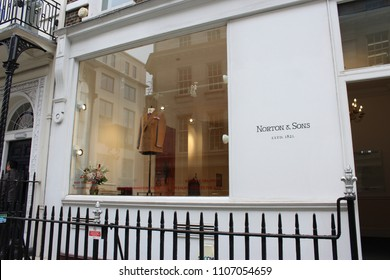 London, England, June 5th 2018: Norton & Sons store in Savile Row in London