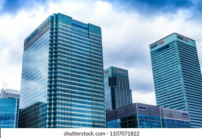 London, England- June 9, 2015 : Offices in the financial hub of Canary Wharf at Canada square: HSBC, CITI, JP Morgan, KPMG and Barclays buildings
