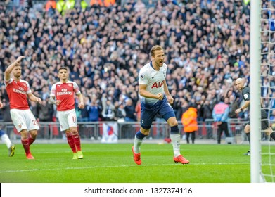 London, England - March 02 2019: Harry Kane of Tottenham Hotspur celebrates his goal during the Premier League match between Tottenham Hotspur and Arsenal at Wembley Stadium