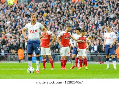 London, England - March 02 2019: Harry Kane of Tottenham Hotspur during the Premier League match between Tottenham Hotspur and Arsenal at Wembley Stadium