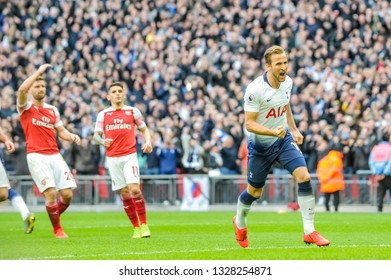 London, England - March 02 2019: Harry Kane of Tottenham Hotspur scores his goal during the Premier League match between Tottenham Hotspur and Arsenal at Wembley Stadium