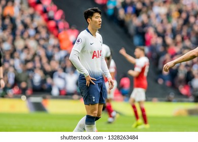 London, England - March 02 2019: Son Heung-Min of Tottenham Hotspur during the Premier League match between Tottenham Hotspur and Arsenal at Wembley Stadium