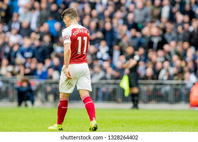 London, England - March 02 2019: Lucas Torreira of Arsenal during the Premier League match between Tottenham Hotspur and Arsenal at Wembley Stadium