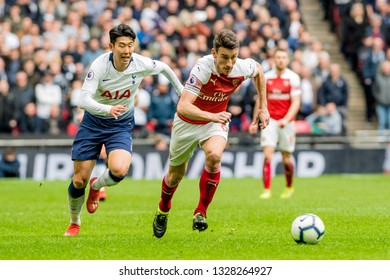 London, England - March 02 2019: Laurent Koscielny of Arsenal during the Premier League match between Tottenham Hotspur and Arsenal at Wembley Stadium