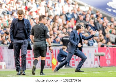 London, England - March 02 2019: Unai Emery manager of Arsenal during the Premier League match between Tottenham Hotspur and Arsenal at Wembley Stadium