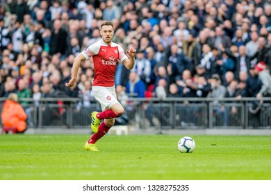 London, England - March 02 2019: Aaron Ramsey of Arsenal during the Premier League match between Tottenham Hotspur and Arsenal at Wembley Stadium