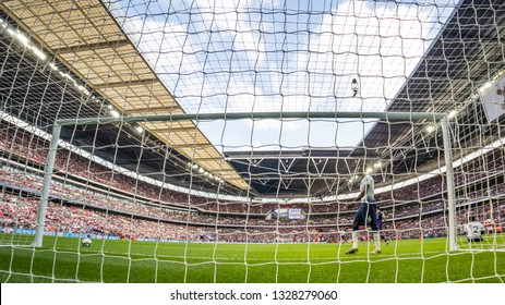 London, England - March 02 2019: a view behind door when Aaron Ramsey of Arsenal scores hi goal during the Premier League match between Tottenham Hotspur and Arsenal at Wembley Stadium