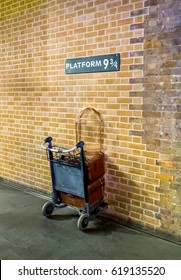 London,  England - March 06,  2017, Platform 9 3/4 at king's cross station - Harry Potter Platform