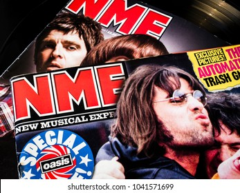 London, England - March 08, 2014: NME, New Musical Express magazine was a British take on current news in the music industry, founded by Theodore Ingham and first published in March 1952