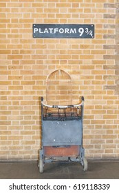 London,  England - March 08,  2017, Platform 9 3/4 at king's cross station - Harry Potter Platform