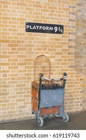 London,  England - March 08,  2017, Platform 9 3/4 at king's cross station - Harry Potter Platform