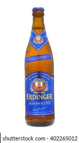 London, England - March 09, 2010: Bottle of Erdinger Non Alcoholic Lager, Made in Germany since 1886.