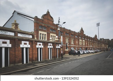 LONDON, ENGLAND - MARCH 1, 2019: Exterior view of Craven Cottage in London, England