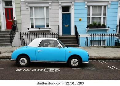 London, England - march 11 2018 : car and buildinf facade are the same color in the picturesque Camden district
