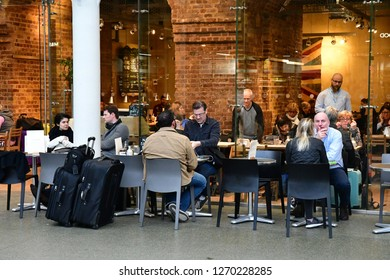 London, England - march 11 2018 : bar in the picturesque Saint Pancras train station in Camden district