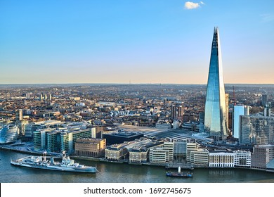 London, England - March 16 2020: HMS Belfast and The Shard Cityscape