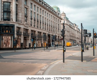 London, England - March 17, 2020: Regents Street is empty due to Coronavirus  lockdown in place banning people from public spaces
