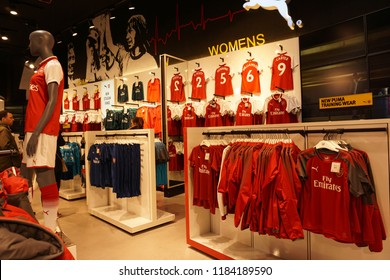 LONDON, ENGLAND - MARCH 18, 2018: Official store in front of Emirates Stadium, Home of Arsenal FC.