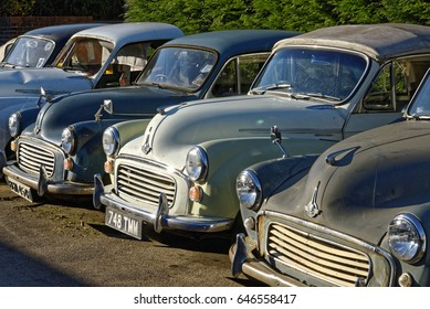 London, England - March 19, 2011: Old Morris Minor Cars for Restoration,  Morris began producing the Minor in 1948 and produced in Oxford, England.