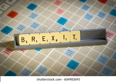 London, England - March 19, 2017: Scrabble Letters Spelling out Brexit, Britain chose to leave the European Union on 23rd June 2016 after a Referendum.