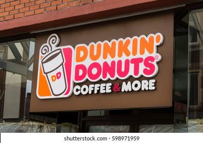 LONDON, ENGLAND - MARCH 1st, 2017: Dunkin Donuts, shop sign, Harrow, London, UK.