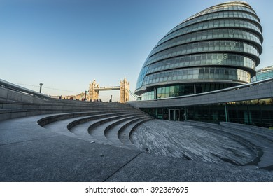 LONDON, ENGLAND - MARCH, 2016. London City Hall and Tower Bridge with clear sky in London, England
