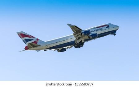 "LONDON, ENGLAND - MARCH 2019: British Airways Boeing 747 ""Jumbo Jet"" departing from London Heathrow Airport."
