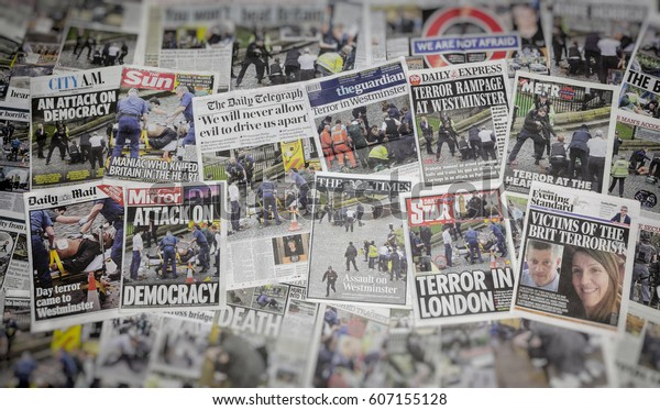 London, England - March 23, 2017: Newspaper headlines the day after the Terrorist attack in Westminster, London in which Khalid Masood killed at least three people.