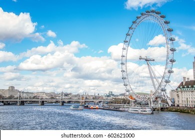 LONDON / ENGLAND - March 28, 2016 : The famous LONDON EYE on the rarely sunny day in LONDON.
