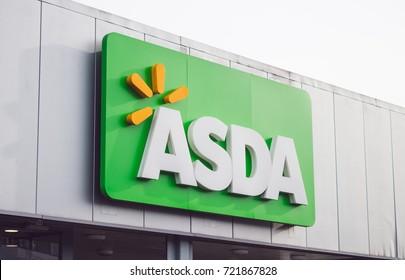 LONDON, ENGLAND - MARCH 3, 2017: Asda supermarket front entrance, South Harrow, London, UK.