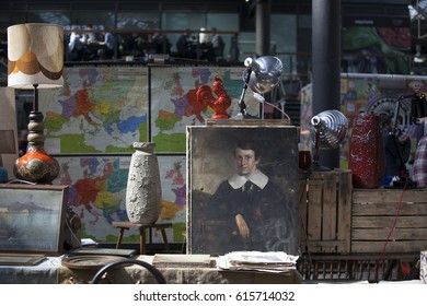 LONDON, ENGLAND - March 30, 2017 Vase, picture and box and other things on the Spitalfields market near Liverpool Street subway.