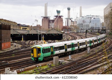 LONDON, ENGLAND - MARCH 31 2017: A Southern class 377 train arrives at London Victoria Rail Station during a dispute between Govia Thameslink Railway and trade unions over Driver Only Operation (DOO)