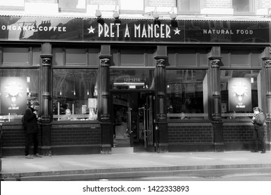 London, England - March 6, 2017. Entrance to Pret a Manger in shoreditch.