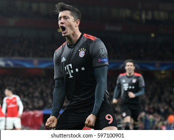 LONDON, ENGLAND - MARCH 7, 2017: Robert Lewandowski celebrates after a goal scored during the UEFA Champions League Round of 16 game between Arsenal FC and Bayern Munich at Emirates Stadium.