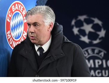 LONDON, ENGLAND - MARCH 7, 2017: Bayern's head coach Carlo Ancelotti pictured before the UEFA Champions League Round of 16 game between Arsenal FC and Bayern Munich at Emirates Stadium.