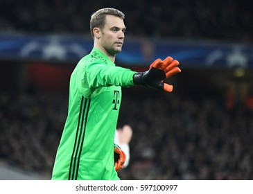 LONDON, ENGLAND - MARCH 7, 2017: Manuel Neuer pictured during the UEFA Champions League Round of 16 game between Arsenal FC and Bayern Munich at Emirates Stadium.