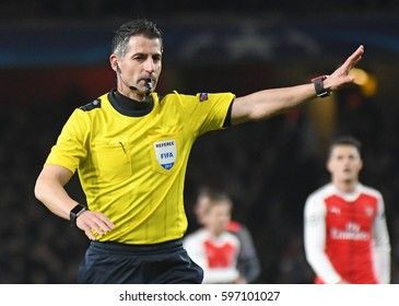 LONDON, ENGLAND - MARCH 7, 2017: Greek FIFA referee Tasos Sidiropoulos pictured during the UEFA Champions League Round of 16 game between Arsenal FC and Bayern Munich at Emirates Stadium.