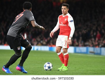 LONDON, ENGLAND - MARCH 7, 2017: Alexis Sanchez pictured during the UEFA Champions League Round of 16 game between Arsenal FC and Bayern Munich at Emirates Stadium.