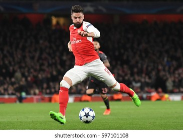 LONDON, ENGLAND - MARCH 7, 2017: Olivier Giroud ictured during the UEFA Champions League Round of 16 game between Arsenal FC and Bayern Munich at Emirates Stadium.