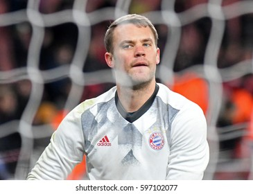 LONDON, ENGLAND - MARCH 7, 2017: Manuel Neuer pictured before the UEFA Champions League Round of 16 game between Arsenal FC and Bayern Munich at Emirates Stadium.