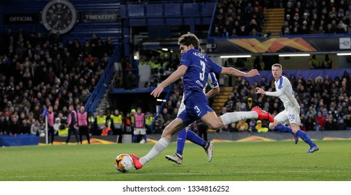 LONDON, ENGLAND - MARCH 7 2019: Marcos Alonso of Chelsea during the Europa League match between Chelsea and Dynamo Kyiv at Stamford Bridge.