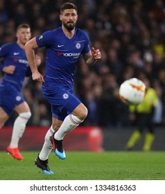 LONDON, ENGLAND - MARCH 7 2019: Olivier Giroud of Chelsea during the Europa League match between Chelsea and Dynamo Kyiv at Stamford Bridge.