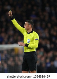 LONDON, ENGLAND - MARCH 7 2019: Referee Slavko Vicic  during the Europa League match between Chelsea and Dynamo Kyiv at Stamford Bridge.