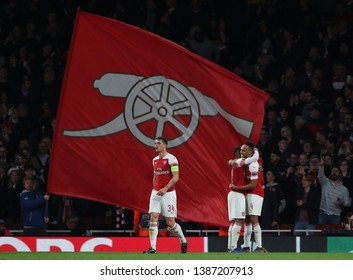 LONDON, ENGLAND - MAY 02 2019: Pierre-Emerick Aubameyang of Arsenal celebrates scoring a goal during the Europa League semi final leg one match between Arsenal and Valencia.