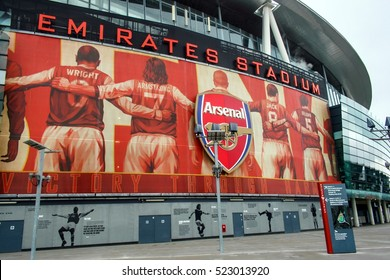 LONDON, ENGLAND - MAY 04, 2012 : The outside of Emirates stadium - the official home ground of Arsenal Football Club