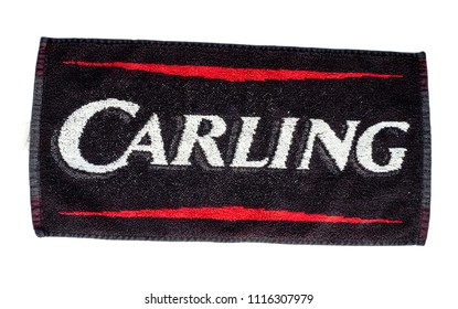 London, England - May 05, 2014: Carling Black Label Lager Bar Towel, Carling brewery was founded in 1840, Canada